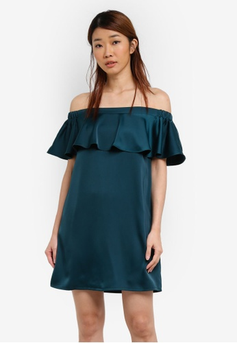 Something Borrowed green Double Layer Off Shoulder Dress E13C9AA347E3ACGS_1