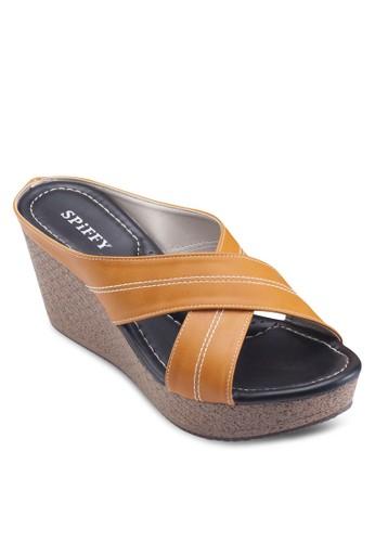 交叉帶楔形涼esprit台灣門市鞋, 女鞋, 楔形涼鞋