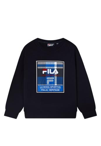 FILA navy Plaid Printed FILA Logo Sweatshirt 885A5AA1DE5A25GS_1