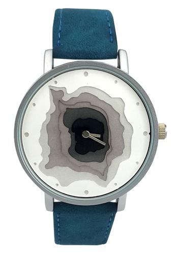 Chronomart blue Nafisa Women's Round 3D Dial Analog Blue Suede Leather Strap Wrist Watch CH783AC59NHOPH_1