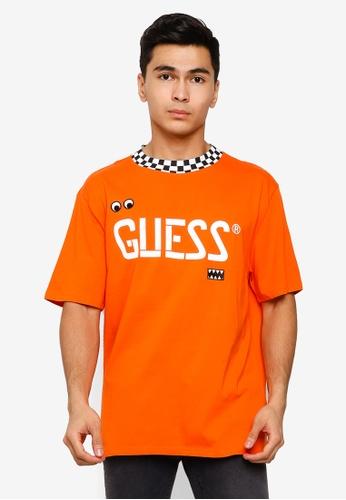 4fe8c19b Guess orange GUESS x J Balvin Oversized Checkered Graphic Logo Tee  4E34DAA9A6E99BGS_1
