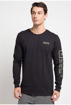 hurley black Cre Arm Long Sleeve T-Shirt 2B0F9AA013E54BGS 1 0dc59fd904