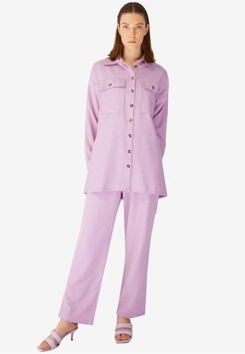 Trendyol purple Pocket Shirt Top & Bottom Set 51172AA190707CGS_1
