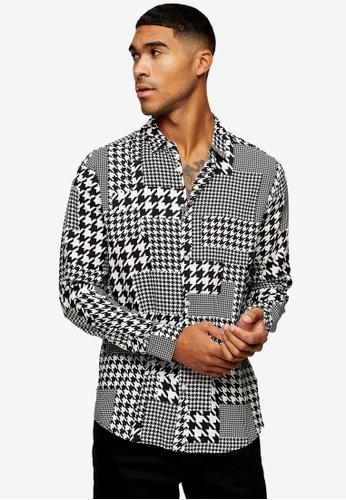 Topman multi Patchwork Houndstooth Slim Shirt 15917AA1A0A8A0GS_1