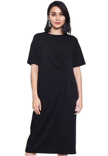 Nichii black Side Knot Short Sleeve Dress 89963AAB841AC0GS_1
