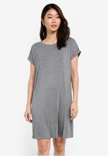 ZALORA grey Basic Crew Neck T-Shirt Dress A04F5ZZCBB72DFGS_1
