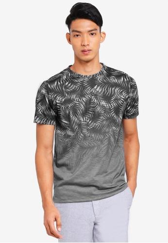Burton Menswear London grey Charcoal Palm Leaf Fade T-Shirt 0D119AA0882EC6GS_1