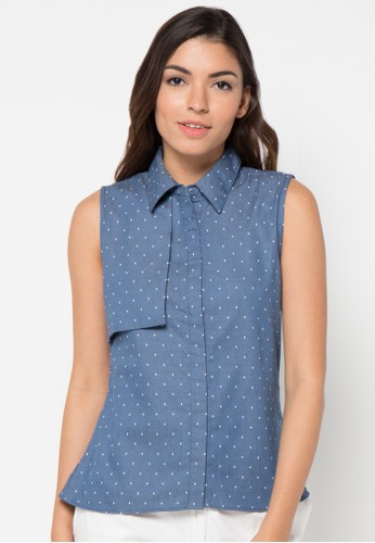 sophistix blue Alba Denim Blouse In Print SO829AA90KAJID_1