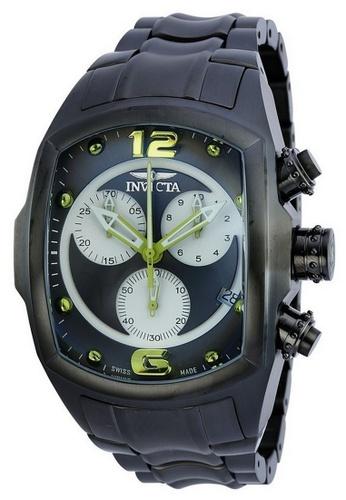 Invicta grey Invicta Lupah Men 47mm Case Gunmetal Stainless Steel Strap White, Gunmetal Dial Quartz Watch 90069 w/ Cap IN968AC0FLWQSG_1