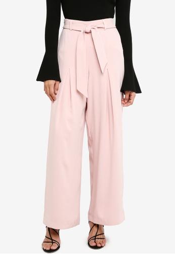 Forever New pink Mila Tie Waist Wide Leg Pants 9A511AAF7A9DFCGS_1