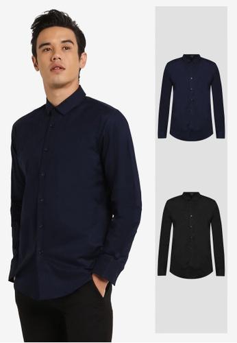 ZALORA black and navy 2 Pack Slim Fit Oxford Long Sleeve Shirt ZA919AA0FKGGSG_1