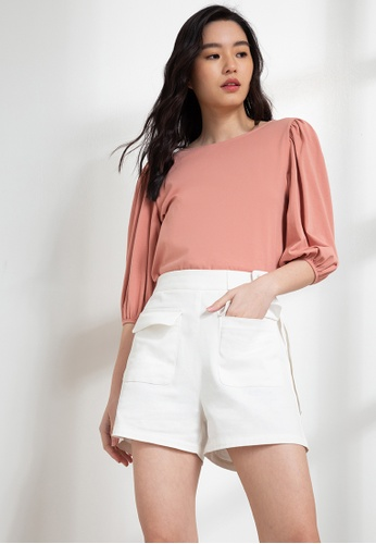 Origin by Zalora pink Organic Cotton Puff Sleeve Top 4985AAA7957153GS_1