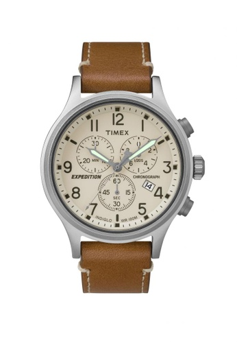 TIMEX brown Timex Expedition Scout Chrono - Brown Leather Strap - Silver Case (TW4B09200) TI857AC82LINSG_1