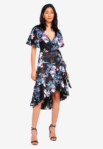 Lipsy black and multi Amelia Print Cape Sleeve Dress 52C33AAD52FC0EGS_1