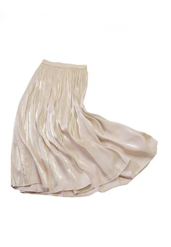 Twenty Eight Shoes beige VANSA Pearly Yarn Pleated Skirt VCW-Sk18588 748EBAACA40F45GS_1