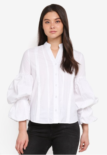 Haute Kelly white Ji-Ae Puff Sleeve Shirt A957AAA5B82537GS_1