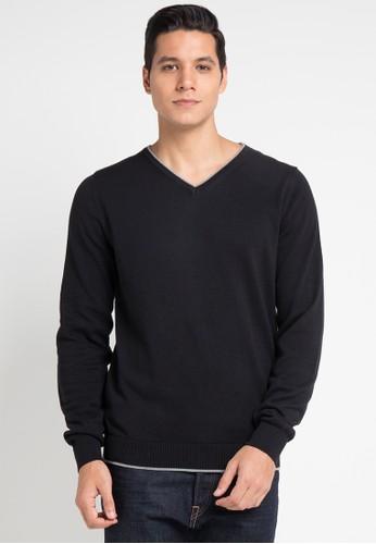 Noir Sur Blanc black Mens Vneck Long Sleeve 351E1AA93F0F51GS_1