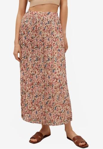 Mango beige Printed Pleated Skirt 84183AAF3F2309GS_1