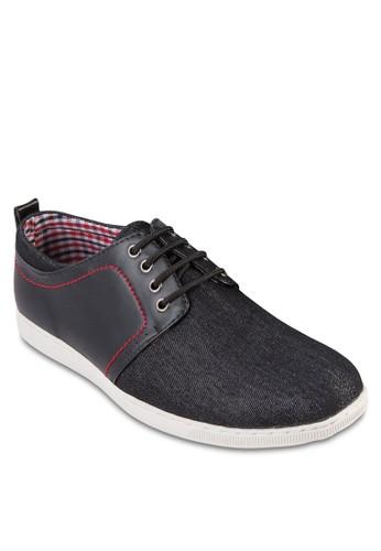 zalora taiwan 時尚購物網鞋子仿皮拼接繫帶休閒鞋, 鞋, 鞋