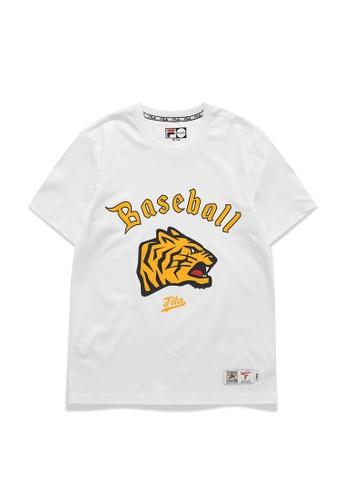 FILA white FILA Logo Tiger Print Cotton T-shirt FD4ECAA41D6ED0GS_1