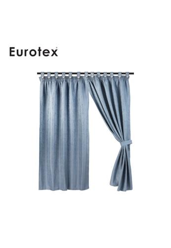 Eurotex Eurotex, Ready Made Curtain, Jacquard Night Curtain, 3 Ways Hanging Options (1 Piece) GD3222 - Blue DF3B9HL35318D9GS_1