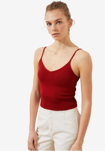 Trendyol red Ribbed Knit Cami Top 54171AA5FF1F20GS_1