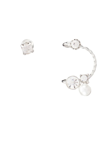 Red's Revenge white Diamante Stud & Pearl Mini Cuff Earrings RE144AC0RRU8MY_1