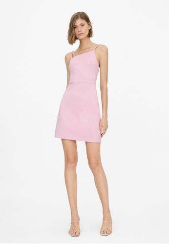 Pomelo purple Asymmetric Neckline Cami Dress - Purple 36B20AACC2F04EGS_1