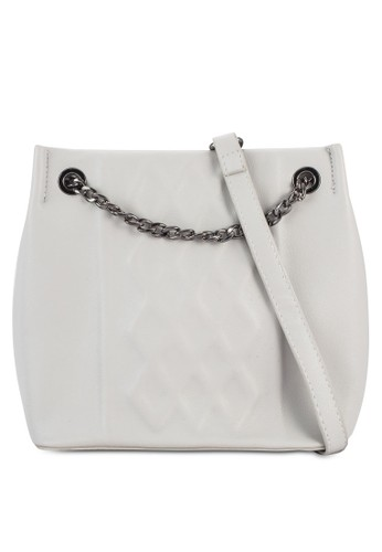 zalora 包包評價壓紋鏈飾水桶斜背包, 包, 包