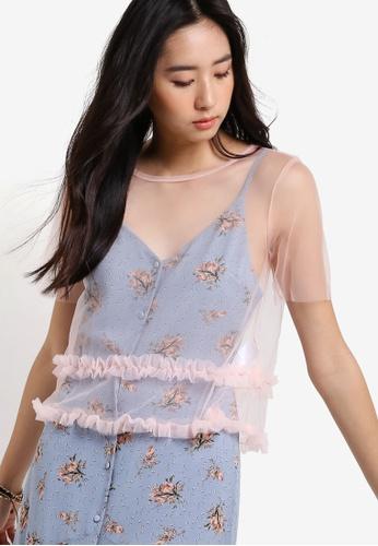 TOPSHOP pink Tutu Sheer T-Shirt TO412AA91DZKMY_1