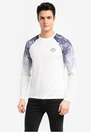 Burton Menswear London white White Long Sleeve Printed Raglan T-Shirt 329B6AAC70CBE2GS_1