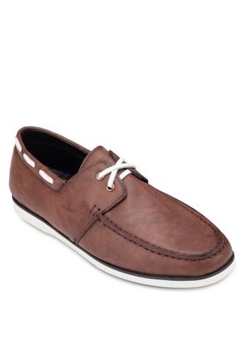 撞色鞋帶仿皮zalora 順豐船型鞋, 鞋, 船型鞋
