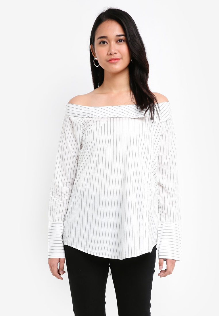 Cloud Off Shirt ONLY Shoulder Long Amanda Black Dancer Stripe Sleeve YqfwfTU