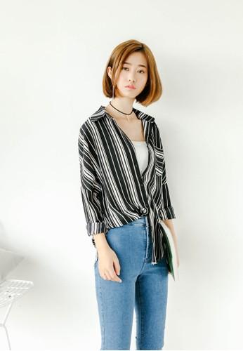 Janny 條esprit 京站紋寬鬆長袖襯衫, 服飾, 上衣
