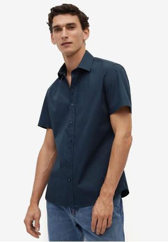 Mango Man blue Short Sleeved Cotton Shirt 97A0DAAD95D3D2GS_1