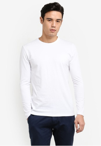 ZALORA white Cotton Crew Neck Long Sleeve Tee 4794BAA8B90857GS_1