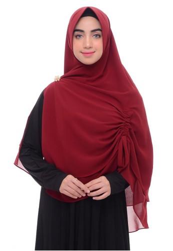 First Hijab red Namira Khimar Instan In DMaroon 593E8AA72B1082GS_1
