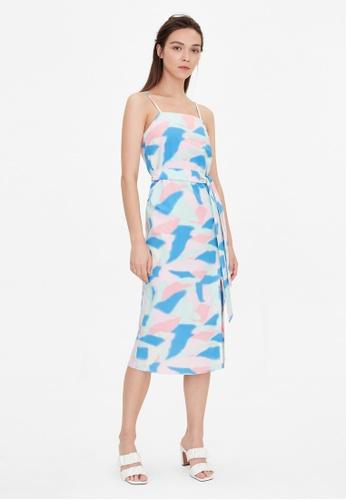 Pomelo blue Abstract Print Side Slit Dress - Mint AC7E8AA9707702GS_1