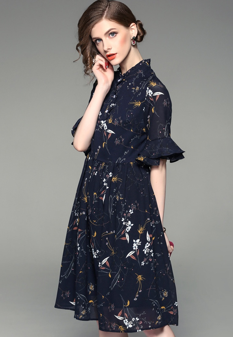 A092719 W One Sleeves multi Chiffon Floral Dress Piece F Mid Flare Sunnydaysweety 2017 p5qwaa