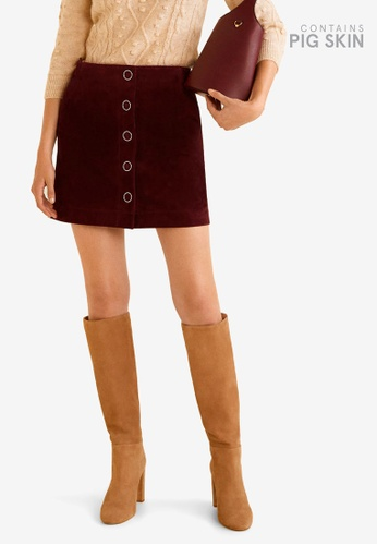 Mango red Pocketed Leather Skirt D9297AA1C620D6GS_1