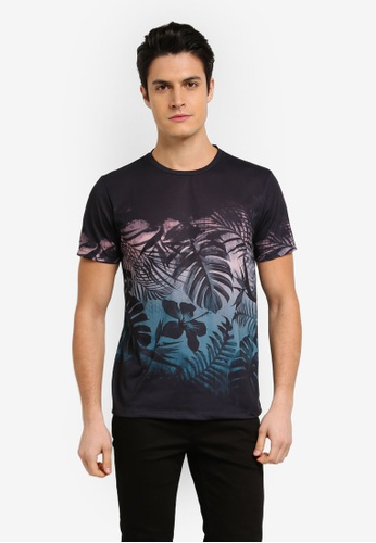 Burton Menswear London black Black Floral Chest Placement Print T-Shirt A355BAA8F6D92BGS_1