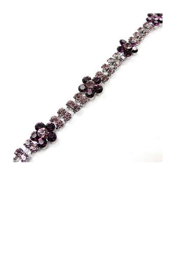 Glamorousky purple Elegant Flower Bracelet with Purple Austrian Element Crystal 4293BAC9DF5634GS_1