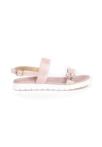Shu Talk 粉紅色 柔和金屬色軟皮花花舒適涼鞋 16405SHB5BAF85GS_1