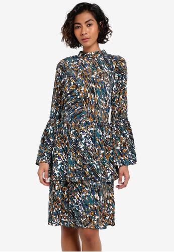 CLOSET multi Ruffled High Collar Dress CL919AA0RSUIMY_1