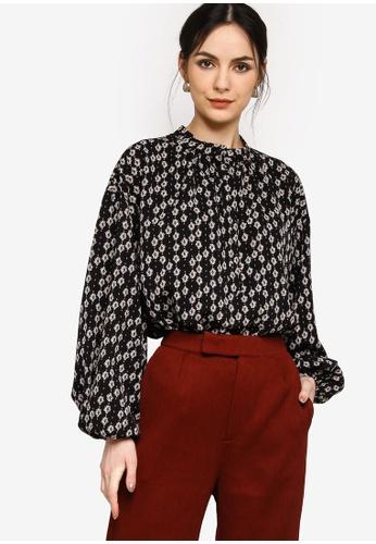 Zalia black Bubble Sleeves Blouse 0D86EAA2F84C3BGS_1
