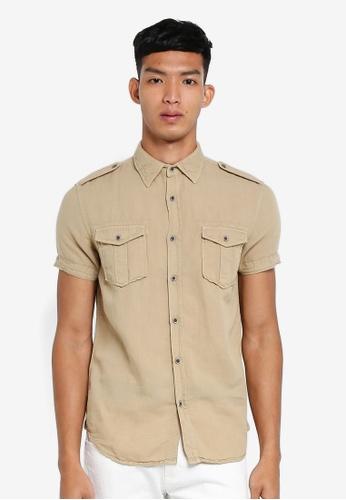 OVS 褐色 休閒短袖襯衫 AE296AA208B245GS_1