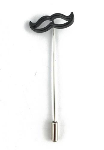 Splice Cufflinks silver Black Moustache Lapel Pin SP744AC32FDJSG_1
