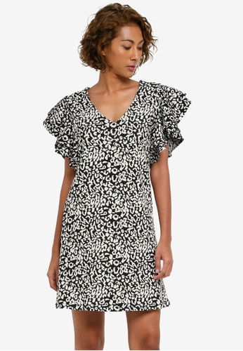 Dorothy Perkins black Black Animal Print Ruffle Shift Dress DO816AA0S09AMY_1