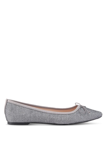 Dorothy Perkins grey Metallic Textured Penny Flats AA7DESHE2C6715GS_1
