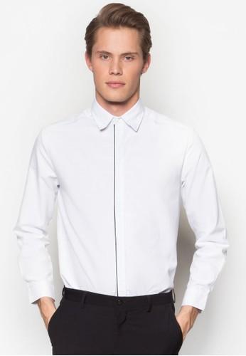 滾邊合身長袖襯衫, 服飾, esprit 西裝服飾